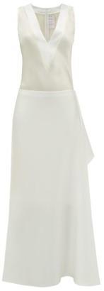 ALBUS LUMEN Hermosa Draped Cotton-blend Satin Dress - Womens - White
