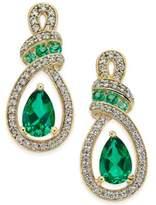 Macy's Emerald (5 ct. t.w.) and Diamond (1/4 ct. t.w.) Drop Earrings in 14k Gold