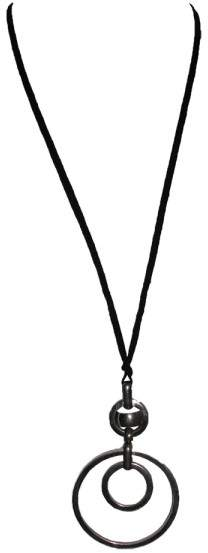 Christian Dior Silver Plated & Nylon Cord Circle Link Necklace