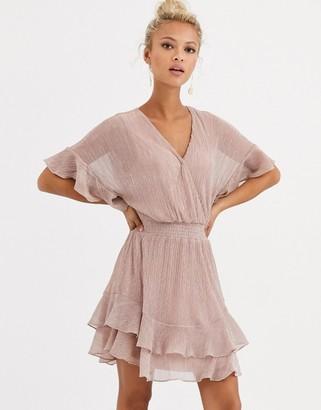 Forever New glitter flippy hem mini dress in blush-Gold