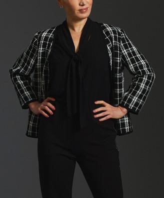 Minna Women's Blazers checks - Black & White Plaid Tweed Open Blazer - Women & Plus