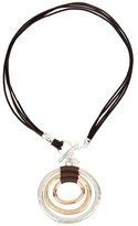 Robert Lee Morris Exclusive Leather Tri Color Toggle Necklace.