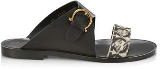 Salvatore Ferragamo Cassie Flat Leather & Cotton Sandals