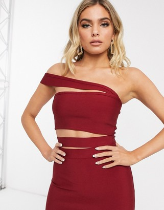 Band Of Stars bandage strappy bandeau crop top in berry