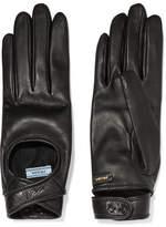 Prada Cutout Leather Gloves - Black