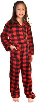 Angelina Sleep Bottoms Black - Black & Red Buffalo Check Pocket Fleece Pajama Set - Toddler & Kids