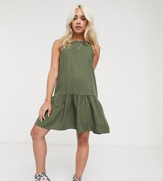Noisy May Petite mini dress with drop waist in khaki