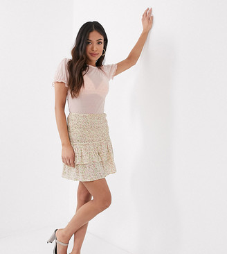 Miss Selfridge Petite ditsy print mini skirt in ivory