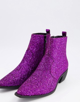 ASOS DESIGN cuban heel western chelsea boots in purple glitter with angular sole