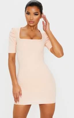 PrettyLittleThing Grey Snake Print Short Sleeve Puff Shoulder Square Neck Bodycon Dress