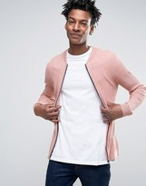 Asos Knitted Bomber With Waffle Texture In Muscle Fit