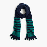 J.Crew Striped scarf with pom-poms