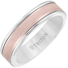 Triton 6MM White Tungsten Carbide Ring with 14K Rose Gold- Crystalline Insert