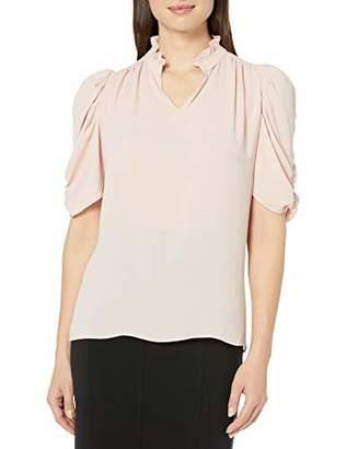 Lark & Ro Half Sleeve Ruffle Neck Woven Blouse Dress,(EU 2XL)