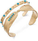 Danielle Nicole Gold-Tone Turquoise-Look Feather Cuff Bracelet Set of Two