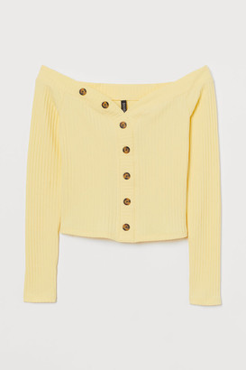 H&M Ribbed Off-the-shoulder Top - Yellow