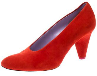 Celine Coral Red Suede Pumps Size 37