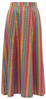 Le Sirenuse Positano Le Sirenuse, Positano - Camille Waved-stripe Cotton-poplin Maxi Skirt - Pink Multi