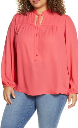 Gibson x International Women's Day Curves to Contour Tie Neck Flowy Blouse