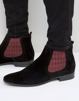 Asos Chelsea Boots In Black Suede With Diamond Elastic
