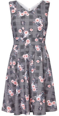 Yumi Check And Flower Print Skater Dress