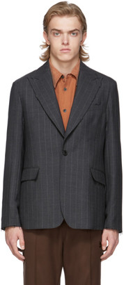 Our Legacy Grey Wool Pinstripe Blazer