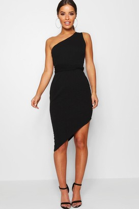 boohoo Petite One Shoulder Asymmetric Bodycon Dress