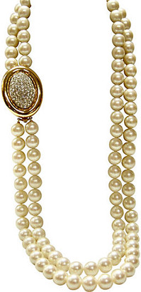 One Kings Lane Vintage Givenchy Crystal Enhancer Pearl Necklace - Wisteria Antiques Etc - gold/clear/ivory