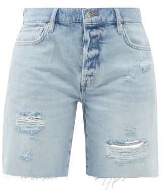 Frame Le Slouch Distressed-denim Bermuda Shorts - Light Denim