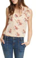 Joie Eddison Floral Ruffle Silk & Cotton Sleeveless Blouse