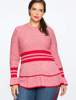 ELOQUII Marled Sweater With Sporty Stripe And Flounce