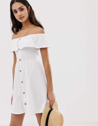 Asos Design DESIGN mini button through sundress with tiered skirt-White