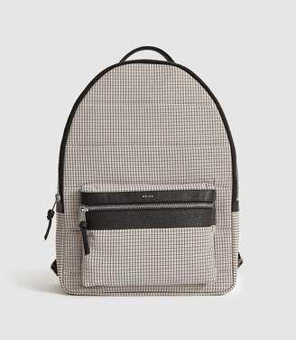 Reiss Ramon - Checked Leather Trim Backpack in Cream