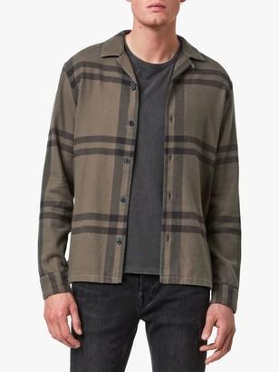 AllSaints Anchorage Check Shirt, Dark Khaki/Black