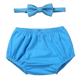 FEESHOW Infant Baby Boy's First Birthday Outfit Gentleman Bow-tie Bloomers Set Cake Smash Photo Props Sky Blue One Size