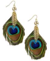 Thalia Sodi Women's Gold-Tone Drop Earrings with Crystal Chain and Peacock Feathers