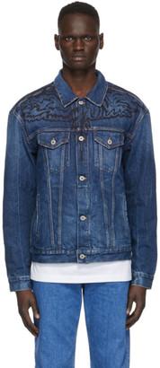 Marcelo Burlon County of Milan Blue Denim Psychedelic Wings Jacket