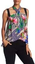 Nicole Miller Floral Silk Halter Top
