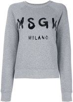MSGM logo print sweatshirt - women - Cotton/Viscose - XS