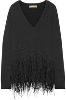 Michael Kors Feather-trimmed Cashmere Sweater - Charcoal