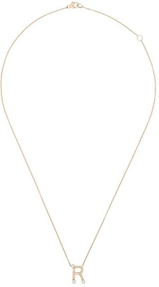 Dana Rebecca Designs R initial diamond pearl necklace
