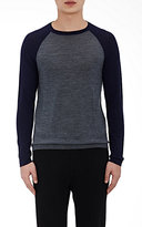 Barneys New York MEN'S COLORBLOCKED CREWNECK SWEATER-GREY SIZE M