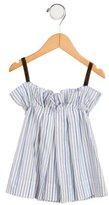 Makie Girls' Striped Velvet-Trimmed Dress