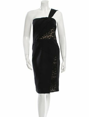 J. Mendel Silk Lace Inset Dress w/ Tags Black