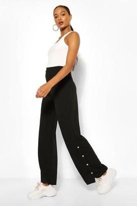 boohoo Popper Side Wide Leg Casual Trousers