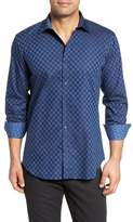 Bugatchi Slim Fit Square Jacquard Sport Shirt