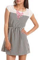 Charlotte Russe Chiffon Inset Striped A-Line Dress