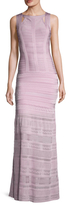 Herve Leger Embroidered Stripe Gown