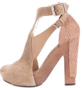 3.1 Phillip Lim Distressed Suede Peep-Toe Pumps