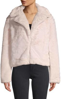 C&C California Faux Fur-Trim Notch Lapel Jacket
